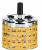 Gele draaiasbak met verschillende emoji s 10 cm type 3
