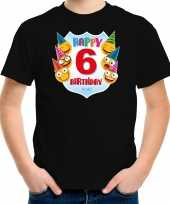 Happy birthday 6e verjaardag t-shirt shirt 6 jaar met emoticons zwart voor kleuters kinderen