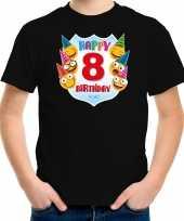 Happy birthday 8e verjaardag t-shirt shirt 8 jaar met emoticons zwart voor kinderen