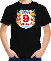 Happy birthday 9e verjaardag t-shirt shirt 9 jaar met emoticons zwart voor kinderen
