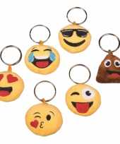 Pluche emoticon cool face sleutelhanger