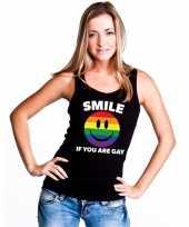 Smile if you are gay emoticon tanktop singlet shirt zwart dames