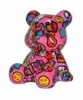 Spaarpot beer roze met met lippen en emoticon16 cm